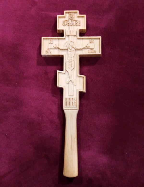 Православный резной Крест в руку малый 22х8см из ольхи