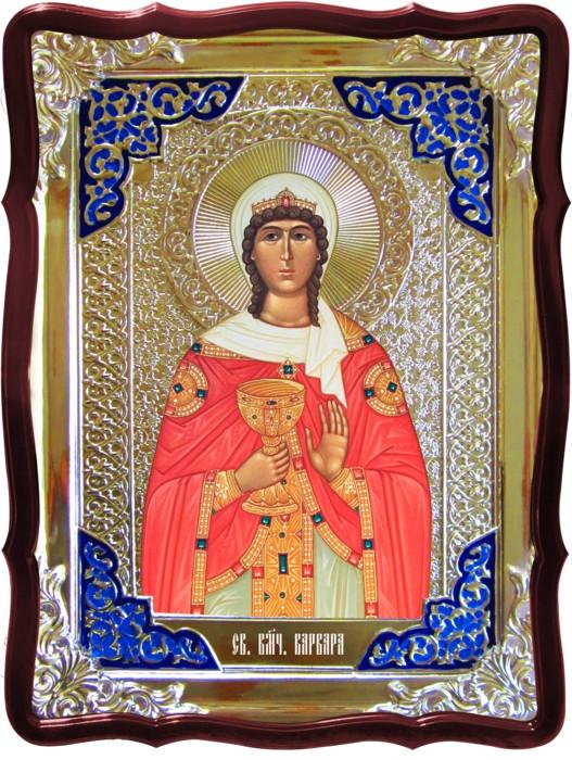 Икона в ризе - Святая мученица Варвара ростовая в православном интернет магазине
