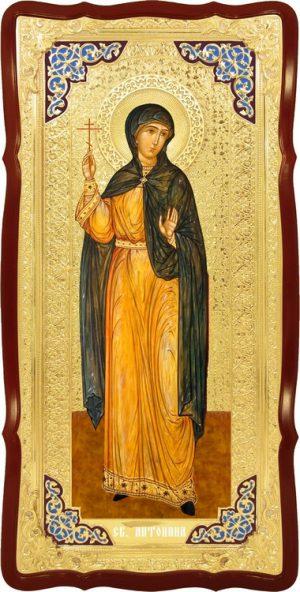 Икона большого размера в ризе Святая Антонина в церковной лавке