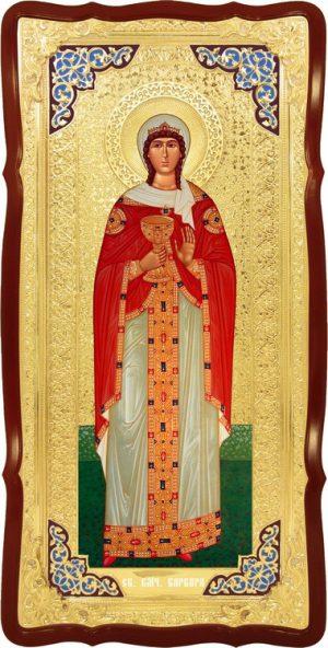 Храмовая икона в ризе Святая Варвара в церковной лавке