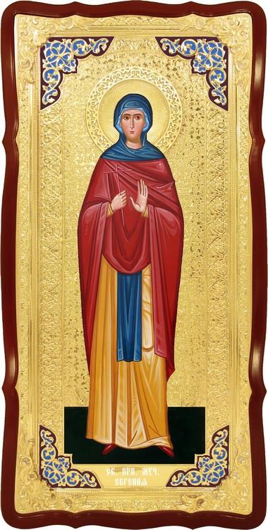 Храмовая икона в ризе Святая Евгения в церковной лавке