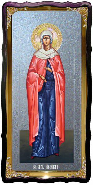Храмовая икона под серебро Святая Александра в православном интернет магазине