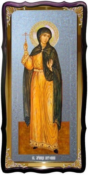 Икона с фоном под серебро Святая Антонина в церковной лавке