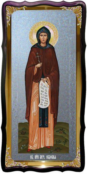 Икона большая под серебро Святая Евдокия в церковной лавке