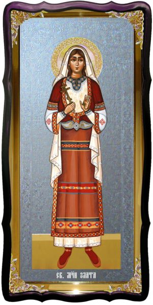 Икона большая под серебро Святая Злата в православном интернет магазине