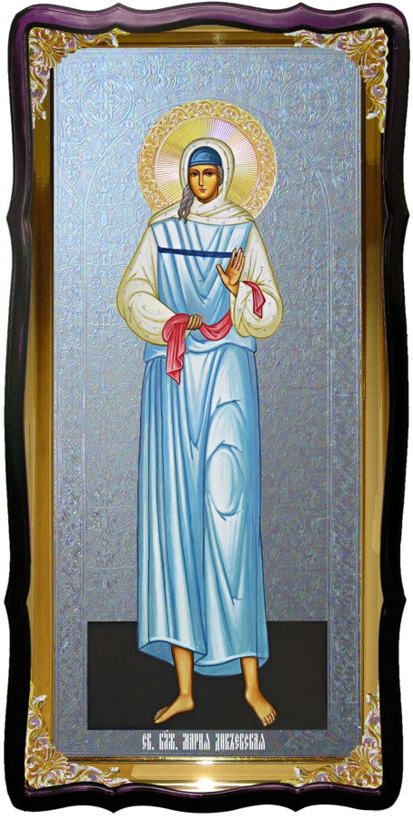 Икона с фоном под серебро Святая Мария дивеевская в православном магазине