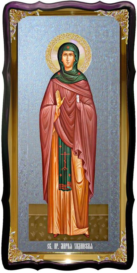 Икона с фоном под серебро Святая Мария хиданская в православном магазине