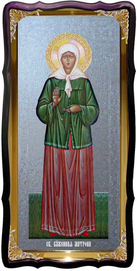 Икона большая под серебро Святая Матрона в церковной лавке