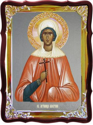 Икона под серебро Святая Алевтина в православном интернет магазине