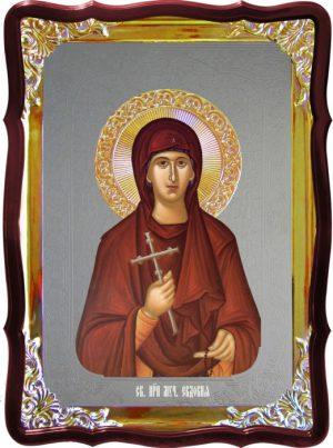 Икона с фоном под серебро Святая Евдокия  в церковной лавке