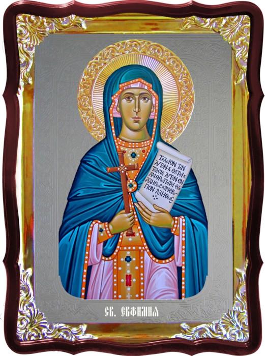 Храмовая икона под серебро Святая Евфимия всехвальная  в православном магазине