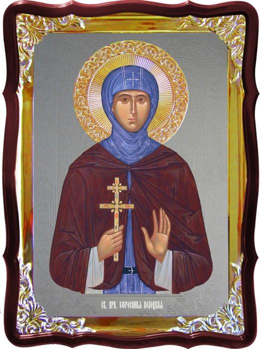 Икона с фоном под серебро Святая Евфросиния Полоцкая  в православном магазине