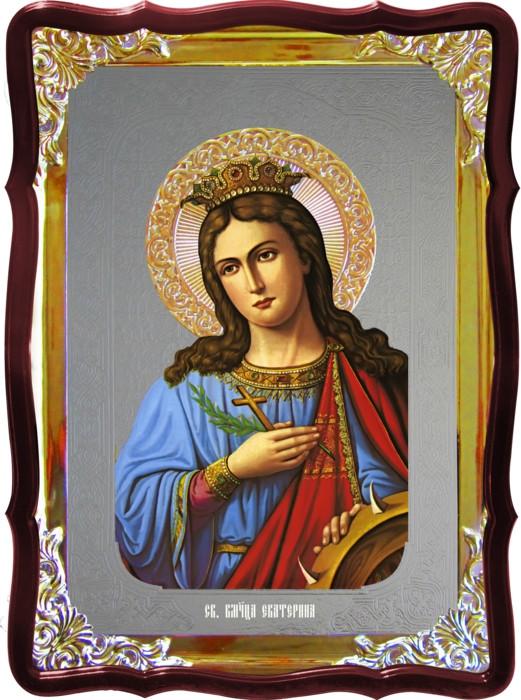 Храмовая икона под серебро Святая Екатерина в церковной лавке