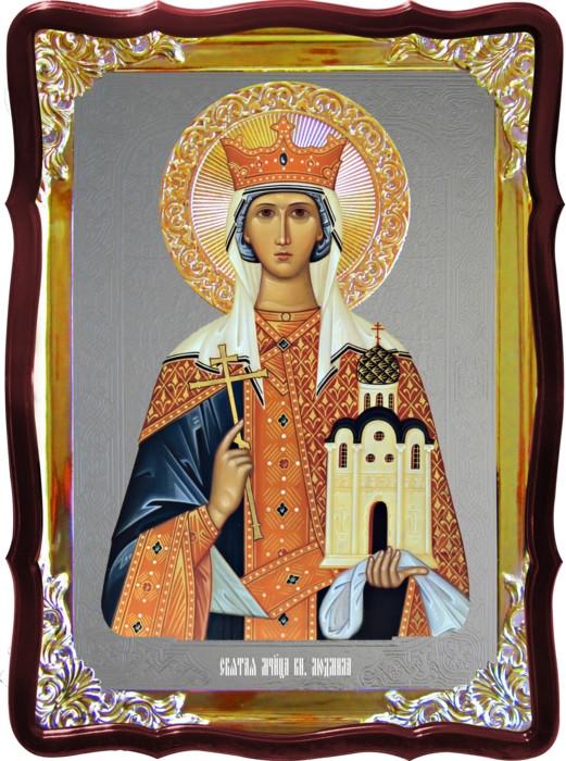 Храмовая икона под серебро Святая Людмила  в церковной лавке