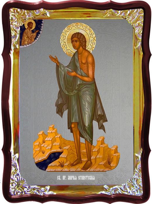 Храмовая икона под серебро Святая Мария Египетская в церковной лавке