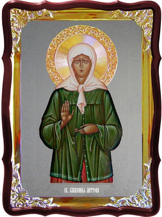 Икона под серебро Святая Матрона Московская в зеленом в православном магазине