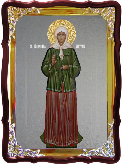 Икона с фоном под серебро Святая Матрона Моск ростовая  в церковной лавке