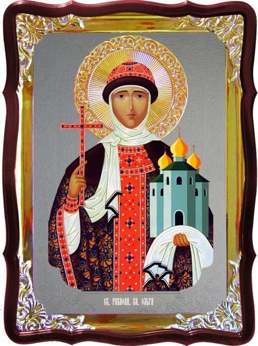 Икона под серебро Святая Ольга  в православном интернет магазине