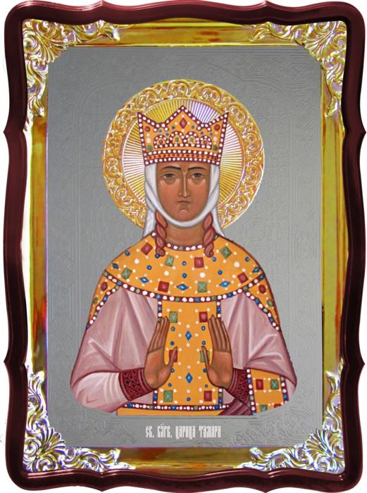 Икона под серебро Святая Тамара