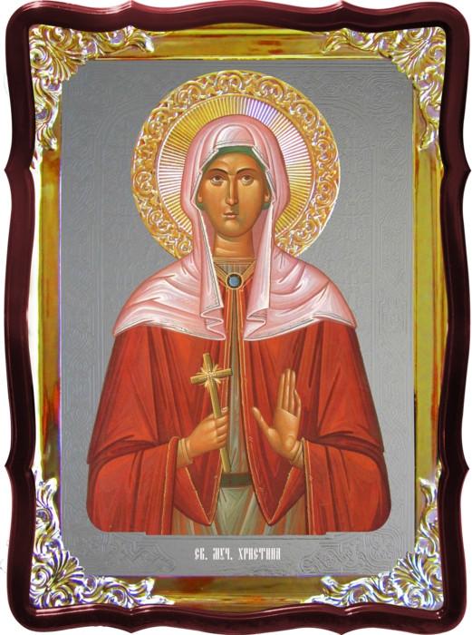 Икона с фоном под серебро Святая Христина Тирская  в церковной лавке