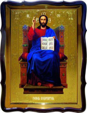 Изображение Христа на церковной иконе -  Спас на троне