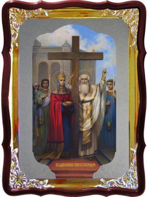 Храмовая икона под серебро Воздвижение креста