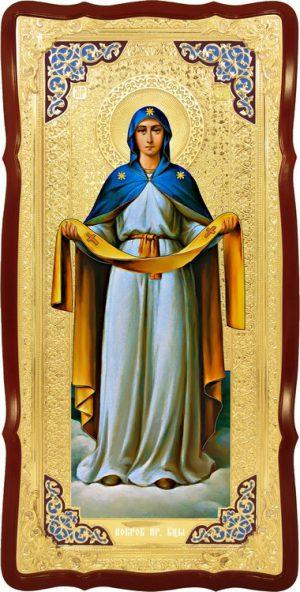 Икона в лавке -  Покров Пресвятой Богородицы в синем