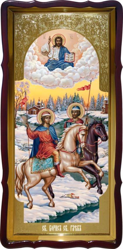 Святые Борис и Глеб большая храмовая икона