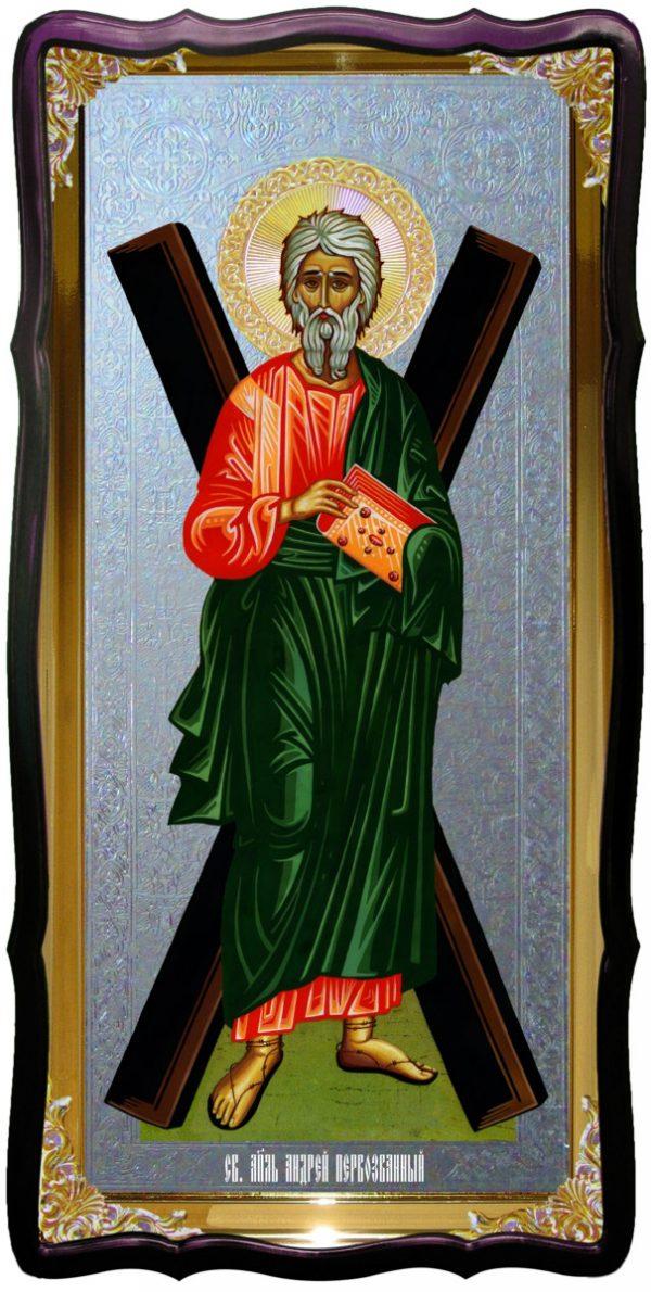 Святой Андрей  ростовая икона под серебро