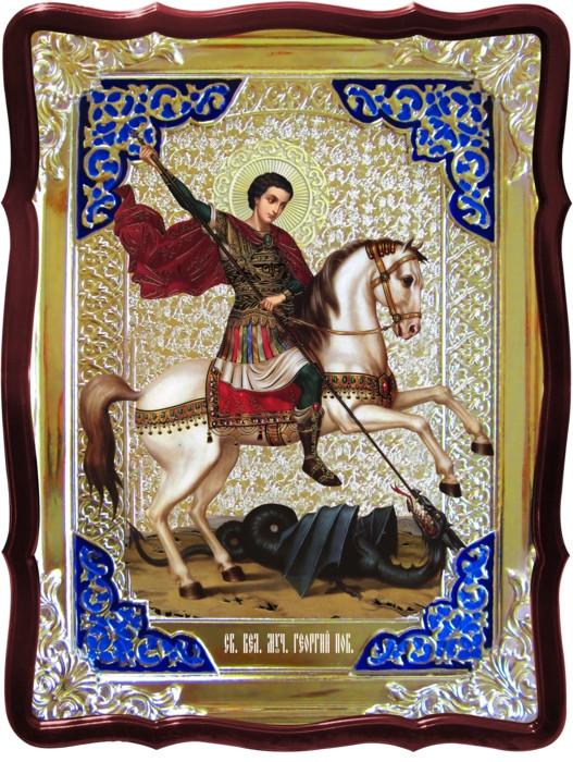 Храмовые иконы на заказ - Святой Георгий на коне