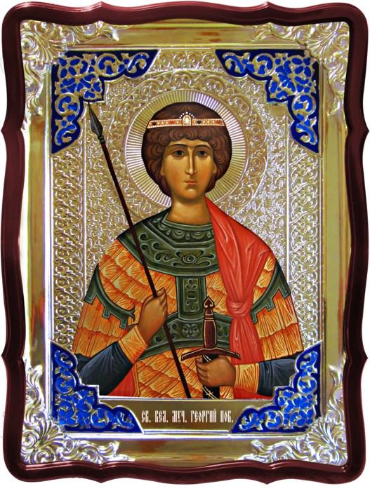 Иконы святых православия -  Святой Георгий (поясная икона)