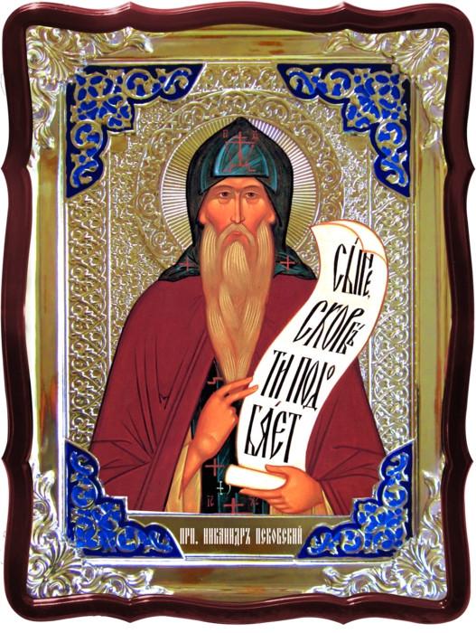 Церковь православная и икона Святой Никандр Псковский