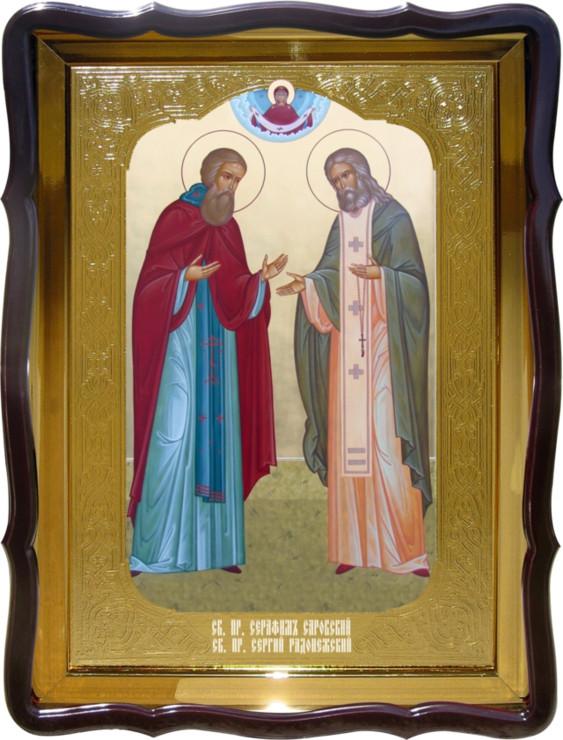 Церковная икона Святой Серафим и Сергий в магазине икон
