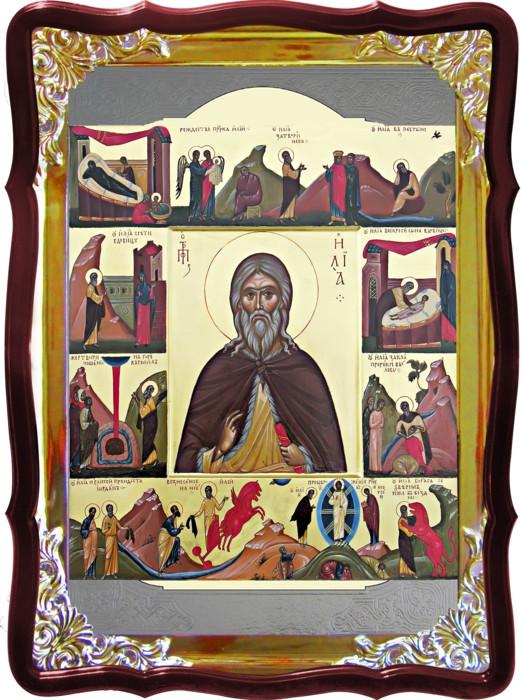 Церковная икона Илья пророк с житием для дома или храма