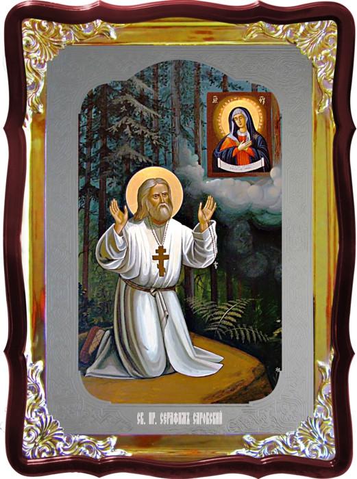 Икона Серафим на камне под заказ