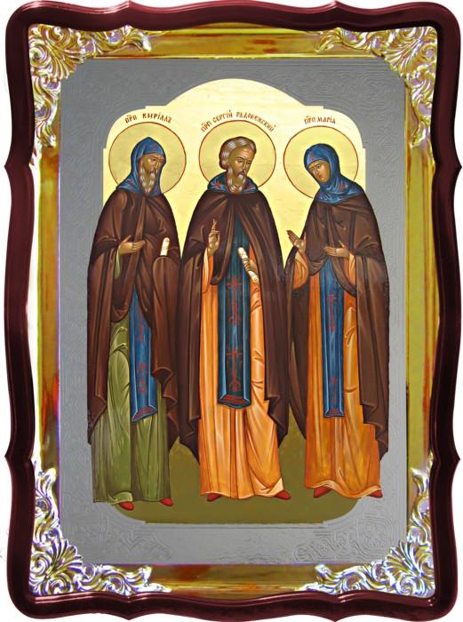 Икона Сергий Радонежский с родителями под серебро в каталоге