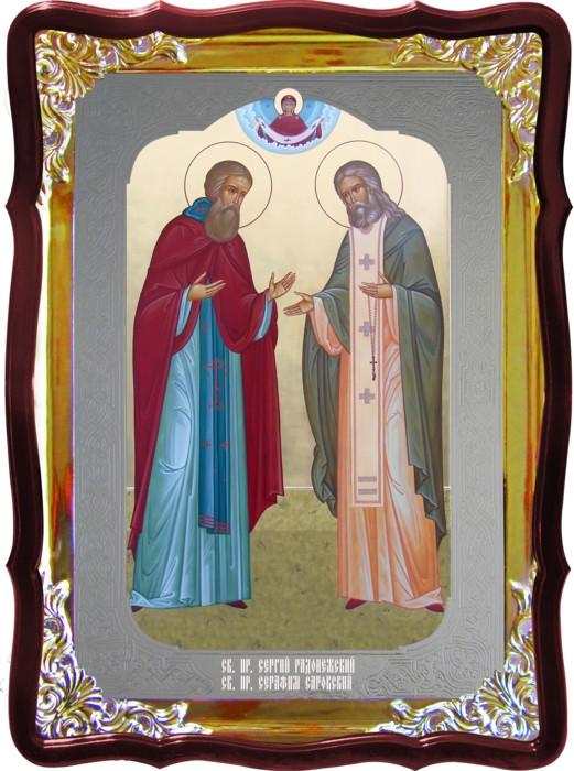 Икона Св. Сергий и Серафим храмовая под серебро