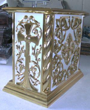 Подставка под выносную икону с крестом и резьбой с позолотой