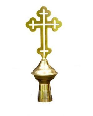 Наконечник на хоругви с крестом латунный