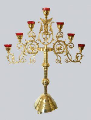 Напрестольный семисвечник на длинной основе с ангелом