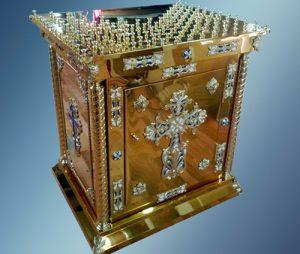 Панихидный стол с крестом и дверцами (нитрид титана) 80*90 см