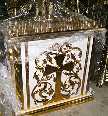 Панихидный стол с резьбой дерева и золочением 115 на 75см