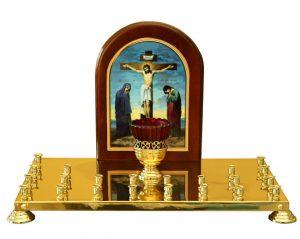 Крышка панихидного столика с литографией голгофы на 24 свечи