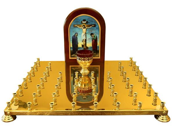 Крышка панихидного столика с литографией голгофы на 50 свечей