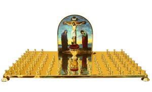 Крышка панихидного столика с литографией голгофы на 100 свечей