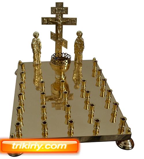 Крышка панихидного стола из булата на 24 свечей с голгофой