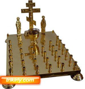 Крышка панихидного стола из латуни на 30 свечей с голгофой