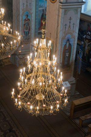 Паникадило храмовое на 4 яруса и 63 свечи с лампадами