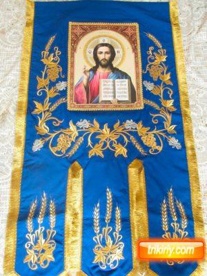 Хоругва церковная тканевая (на габардине) 115 на 60см