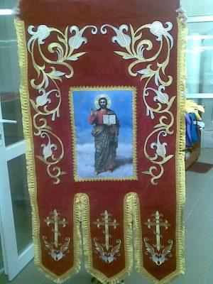 Хоругва вышитая православная коричневая для храма